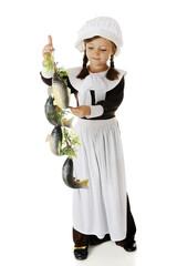 Pilgrim Girl Admiring Fish