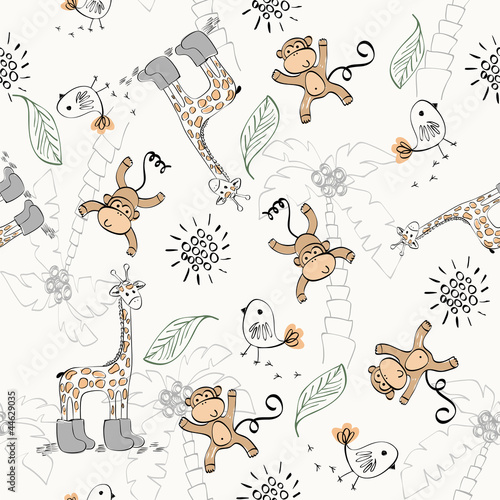 Fototapeta Cute babies doodle seamless pattern. Pastel background.