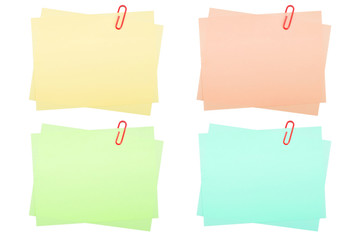 collection of real note papers with paper clip
