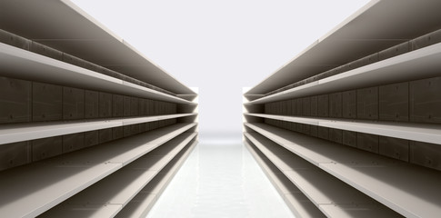 Shopping Aisle With Empty Shelves