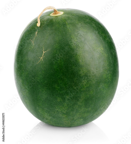 Dark green watermelon berry on white
