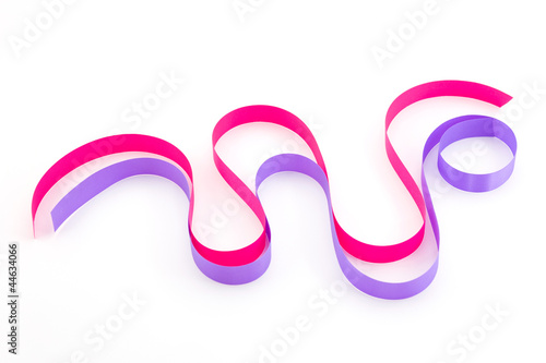 Pink and purple ribbon isolated on white background