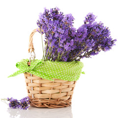 Lavender twigs in basket