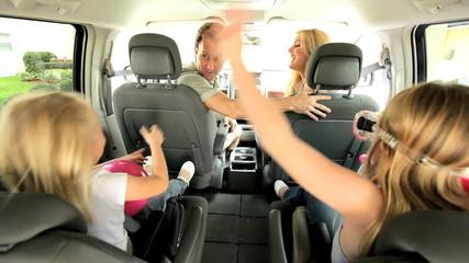 Young Caucasian Family Beach Car Trip