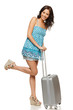 Full length of happy smiling female standing with suitcase