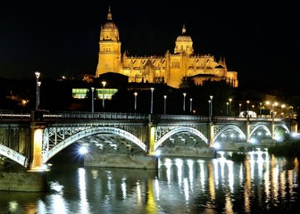 Salamanca cathedral night.