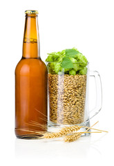 Brown bottle of beer, Mug full of barley and hops, Wheat ears is