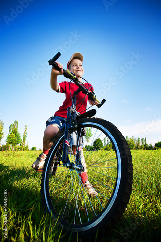 Six year old boy on a bike