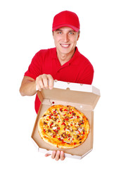 Pizza delivery courier in red uniform comic closeup portrait