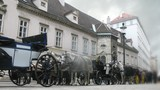 Horse-driven carriage stands at Hofburg palace