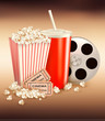 Popcorn and a drink and two tickets. Vector