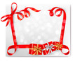 Christmas background with red gift bow with gift boxes. Vector
