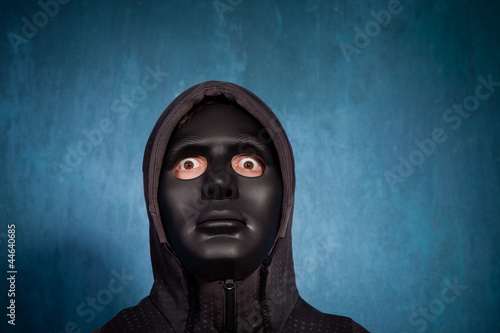 halloween man with black  mask