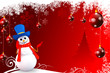 snow man with red background