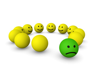 Sad smiley among happy smileys