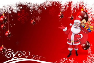 santa with a gift bag on red background