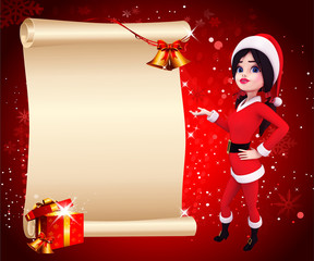 santa girl pointing towards big sign on red background