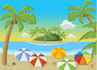 Tropical beach with blue ocean, umbrellas and palm trees.