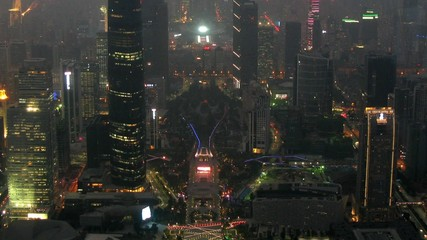 Panorama of night Zhujiang New Town there go cars