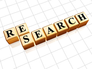 research text in golden cubes