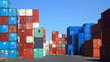 Freight containers in the Le Havre port. France