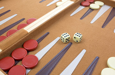 Dice and pieces of backgammon game