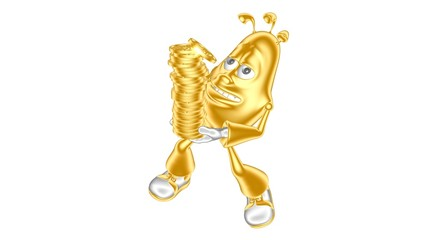 Golden 3D character mr. Multic carries  lot golden coins