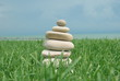 Stacked tower of rocks on the grass