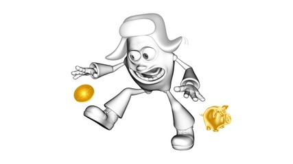 Funny white 3D character mr. Multic catches golden coin