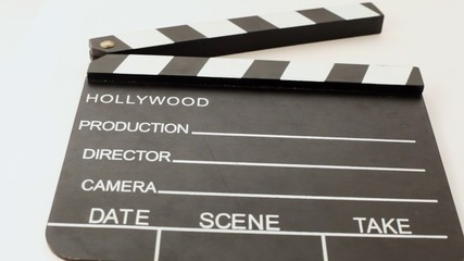 clapper for cinema with inscriptions