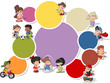 Colorful template for brochure with cartoon kids playing