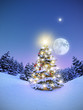 Geschmückter Weihnachtsbaum im verschneiten Wald 3D