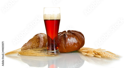 glass of kvass with bread isolated on white background