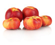 Ripe nectarines isolated on white close-up