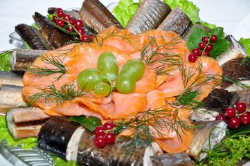 Fischplatte Lachs aal Buffet