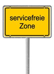 Ortsschild servicefreie Zone