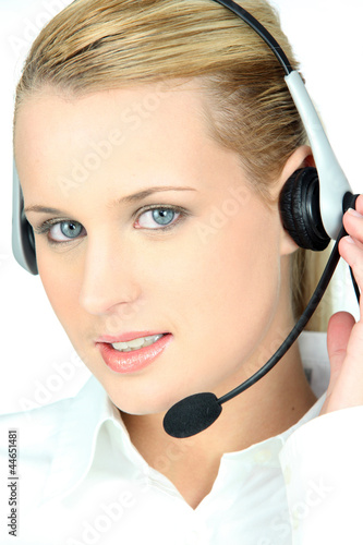 Woman in a headset