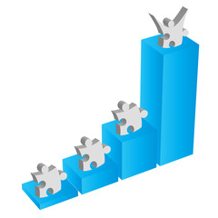 Puzzle piece teamwork works for business metaphor