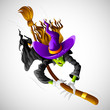 vector illustration of halloween witch flying on broom