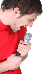 portrait of rock singer with microphone