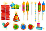 vector illustration of collection of colorful fire cracker