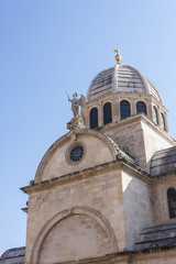 Tower of Cathedral Sveti Jakov in Sibenik in Croatia