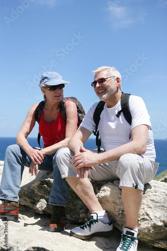 Couple taking a break on a hike