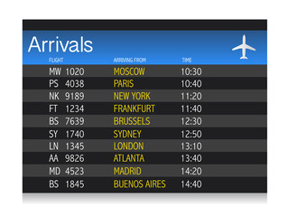 Airport arrival timetable illustration design