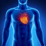 Glowing heart in male chest poster