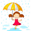 vector illustration of girl playing in rain with umbrella