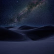 Desert dunes sand in milky way stars night