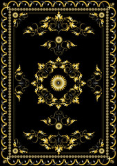 Ornament oriental rugs with golden decor