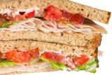 Close-up of turkey sandwich on whole wheat