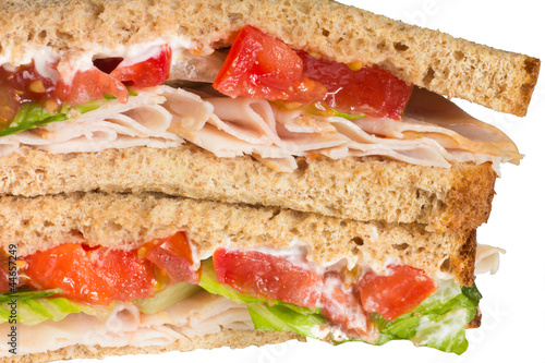 Close-up of turkey sandwich on whole wheat - 44657249